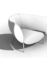 arquichair05 – 3D View – Coarse Hidden Line