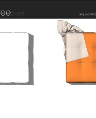 arquisofa10_Tufty Too_T102P_3N+blanket – Sheet – 5 – Hidden line and realistic plan views