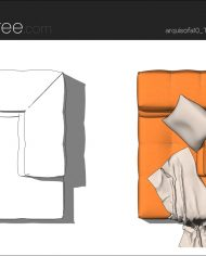 arquisofa10_Tufty Too_T109AD_4N+blanket – Sheet – 5 – Hidden line and realistic plan views