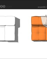 arquisofa10_Tufty Too_T109BD_3N+blanket – Sheet – 5 – Hidden line and realistic plan views