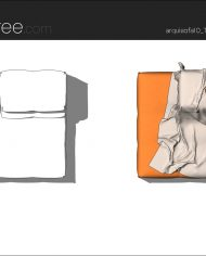 arquisofa10_Tufty Too_T109PD_3N+blanket – Sheet – 5 – Hidden line and realistic plan views