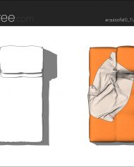 arquisofa10_Tufty Too_T109TPD_4N+blanket – Sheet – 5 – Hidden line and realistic plan views