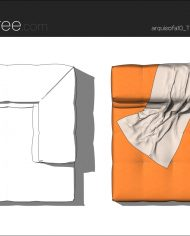 arquisofa10_Tufty Too_T143AD_4N+blanket1 – Sheet – 5 – Hidden line and realistic plan views