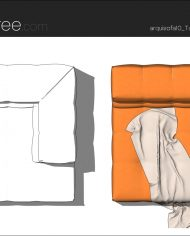 arquisofa10_Tufty Too_T143AD_4N+blanket2 – Sheet – 5 – Hidden line and realistic plan views