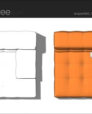 arquisofa10_Tufty Too_T143BD_4N+blanket – Sheet – 5 – Hidden line and realistic plan views