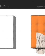 arquisofa10_Tufty Too_T150P_3N+blanket – Sheet – 5 – Hidden line and realistic plan views