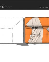 arquisofa10_Tufty Too_T177AD_3N+blanket – Sheet – 5 – Hidden line and realistic plan views