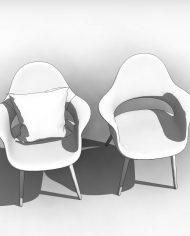 arquichair33 – 3D View – Coarse Hidden Line