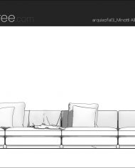 arquisofa13_4P – Sheet – 3 – Hidden line Front Elevation