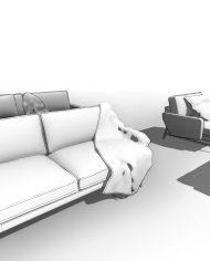arquisofa18 – 3D View – Fine Hidden Line