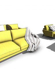 arquisofa18 – 3D View – Fine Realistic no Edges