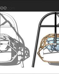 arquichair61 – Sheet – 3 – Hidden line and realistic plan views